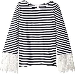 Yarn-Dyed Stripe Lace Sleeve Top (Big Kids)