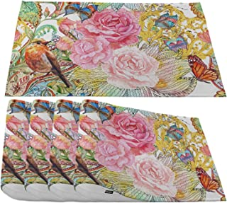 Moslion Fancy Blossoms and Bird Placemats,Watercolor Painting Rose Flower Birds and Butterfly Place Mats for Dining Table/...