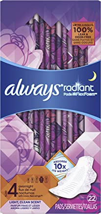 Always Radiant Overnight Pads, Size 4, 22 Count, Light Clean Scent