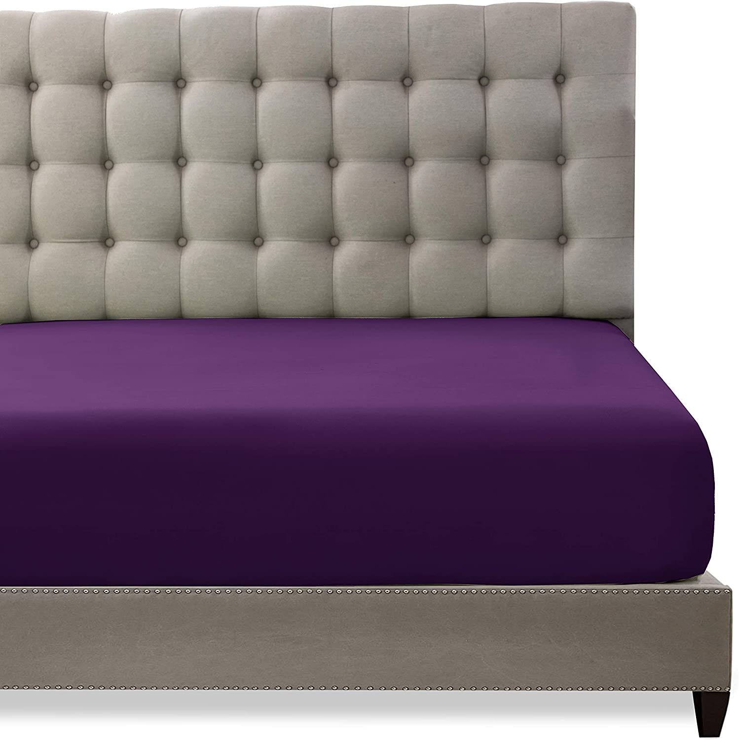Toodou Soft Max 80% OFF Brushed Excellence Microfiber Purple Sheet-Com Full Size Fitted