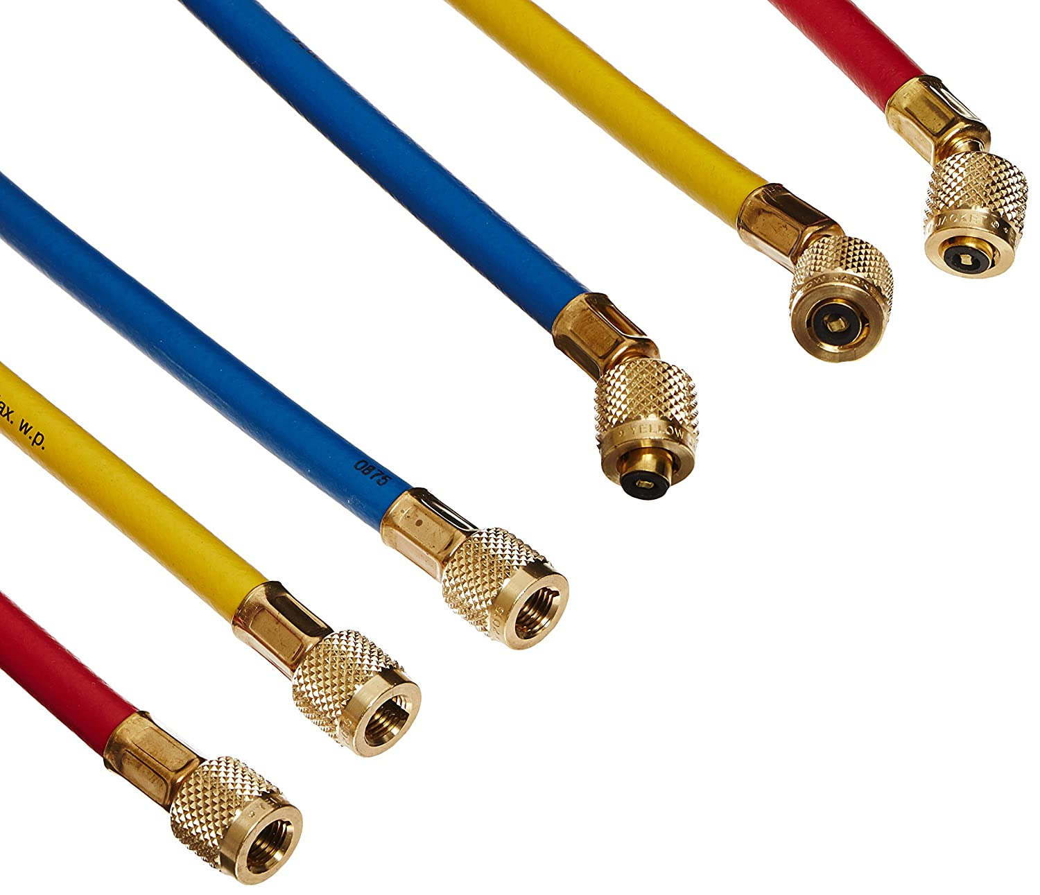 """Yellow Jacket 21985 Plus II Hose Standard 1/4"""" Flare Fittings, 60"""", Red/Yellow/Blue (Pack of 3): Industrial Hvac Components: Industrial & Scientific"""