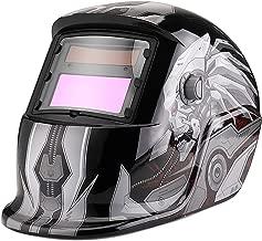 Flexzion Welding Helmet Auto Darkening Mask Hood (Terminator), Solar Powered Shield Equipment with Weld & Grind Modes Manual Adjustable Shade Range 9-13 for Arc Gas Tig Mig Mma Grinding Plasma Cut