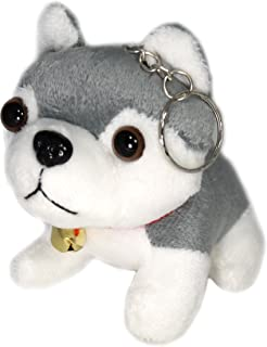 "Lucore 3"" Husky Dog Plush Stuffed Animal Toy Keychain - Hanging Doll Lucky Charm with Jingle Bell Collar"