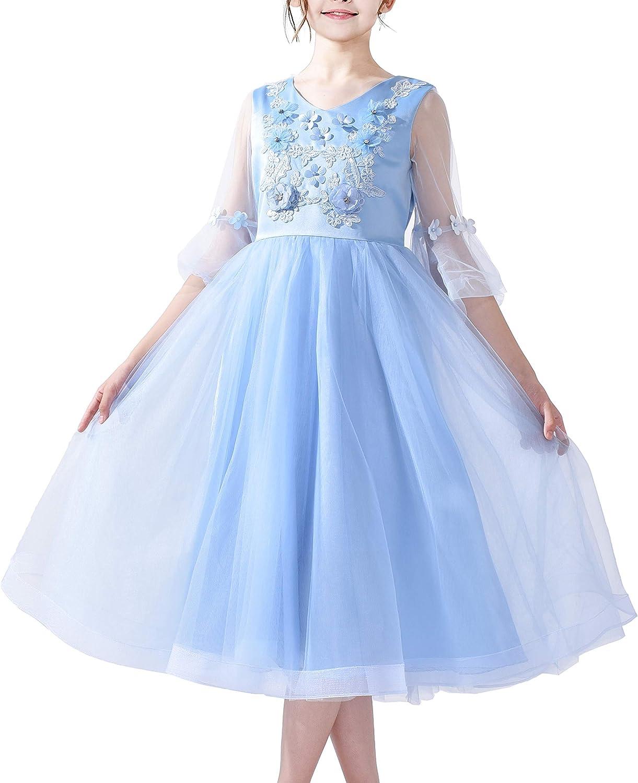 Sunny Fashion Flower Girls Dress Blue Bell Sleeves Wedding Bridesmaid Size 6-12