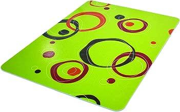 Deflecto RollaMat Decorative Chair Mat, Medium Pile Carpet Use, Rectangle, Straight Edge, 46 x 60 Inches, Circle Lime Print (CM15442FCCL)