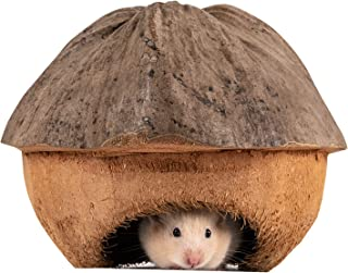 andwe Coconut Hut Small Animal Cage Habitat Decor for Hamster Mice Gerbils - Pocket Pet Coco Original House
