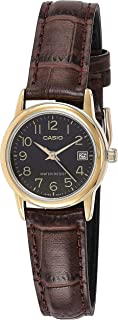 Casio Women's Quartz Watch, Analog-Digital Display and Leather Strap Ltp-V002Gl-1Budf, Brown Band