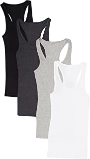 4 Pack Womens Basic Ribbed Racerback Tank Top