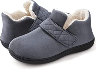 ZIZOR Women's Cozy Memory Foam Slippers with Adjustable Closure Strap, Fleece Lining Closed Back House Shoes with Anti-Slip Indoor Outdoor Rubber Sole