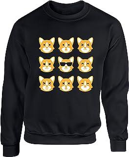 Hippowarehouse Corgi Dog Emotions Unisex Jumper Sweatshirt Pullover (Specific Size Guide in Description)