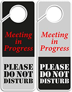 Do Not Disturb Sign -Meeting in Progress, Door Hanger 2 Pack, Double Sided, Ideal for using in any places like Offices, Clinics, Law Firms, Hotels or during Therapy, Counseling Sessions …