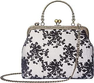Women Vintage Kiss Lock Top Handle Handbag Evening Purse Crossbody Shoulder Bag with Chain Strap