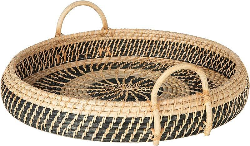 KOUBOO 1020072 Round Rattan Breakfast Natural Black Serving Trays One Size