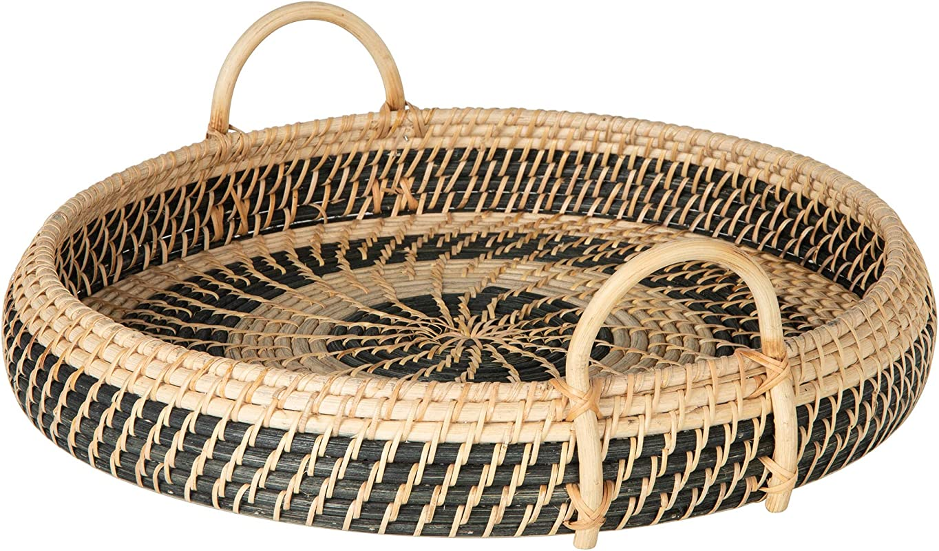 KOUBOO 1020072 Round Rattan Breakfast Natural Black Serving Trays One Size