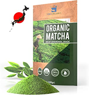 Matcha Green Tea Powder – Organic Premium Decaf Ceremonial Grade – Low Caffeine Sugar Free – USDA Certified Authentic Japa...