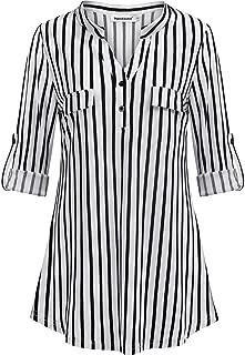 Nandashe Womens 3/4 Roll Sleeve Shirt V Neck Button Down Blouse Loose Tunic Tops