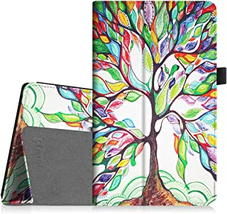 Fintie Folio Case for All-New Amazon Fire HD 8 Tablet (Compatible with 7th and 8th Generation Tablets, 2017 and 2018 Releases) - Slim Fit Premium Vegan Leather Standing Protective Cover, Love Tree
