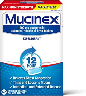 Chest Congestion, Mucinex Maximum Strength 12 Hour Extended Release Tablets, 42ct, 1200 mg Guaifenesin Relieves Chest Cong...