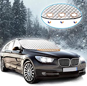 PDR Car Windscreen Cover  Magnetic Windshield Cover Ultra Thick Windscreen Frost Protector Waterproof Windproof Snow Ice Frost Sun Dust Resistent for SUV Most Vehicle Winter Cover  190 124cm