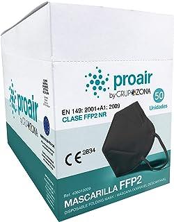 Mascarillas FFP2 homologadas CE 2834, color Negro, filtrado de 5 capas - ProAir - Mascarilla protección respiratoria