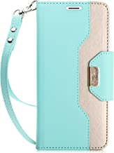 ProCase Galaxy S9 Plus Wallet Case, Flip Kickstand Case with Card Holders Mirror Wristlet, Folding Stand Protective Book Case Cover for 6.2 Inch Galaxy S9+ (2018 Release) - MintGreen
