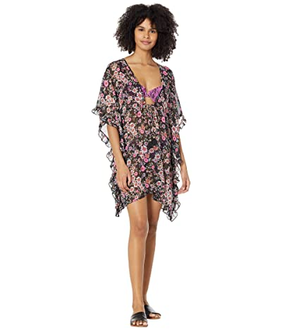 Jessica Simpson Posy Fields frill Side Chiffon Cover-Up (Black Multi) Women