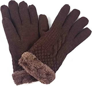 Lina & Lily Ladies Knitted Warm Winter Gloves Fur Lined