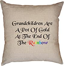 Hollywood Thread Grandchildren are a Pot of Gold at The End of The Rainbow Decorative Linen Throw Cushion Pillow Case with Insert