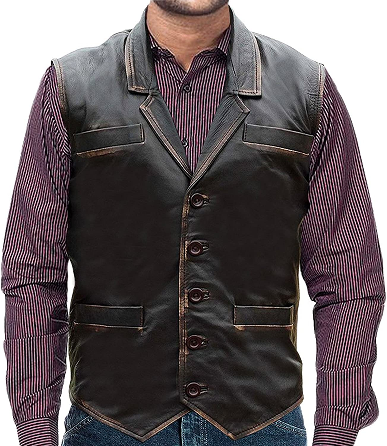 HOLLYWOOD LEATHER HAWK Distressed Brown Biker Leather Vest for Men (M (Fit for 41-42 inches Actual Chest Size))