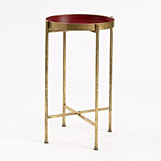 FirsTime & Co. Red Small Gild Pop Up Tray Accent Table