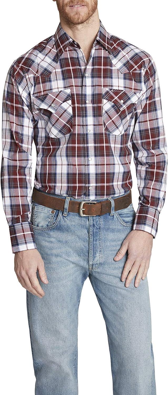 ELY CATTLEMAN Men's Tall Size Long Sleeve Classic Western Plaid Shirt