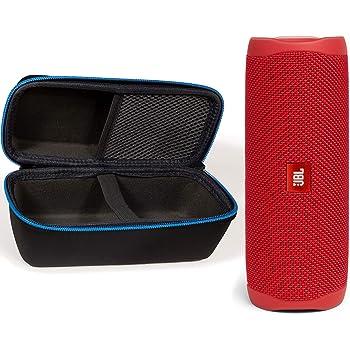 JBL Flip 5 Waterproof Portable Wireless Bluetooth Speaker Bundle with divvi! Protective Hardshell Case - Red