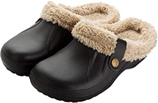 SMajong Men's Women's Waterproof Slippers Winter Lined Clogs Fur Garden Shoes Warm Plush Home House Slippers Indoor Outdoo...