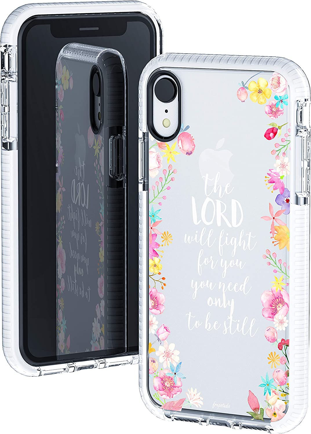 iPhone XR Clear Case,Cute Pink Floral Flowers Rose Bible Verses Girls Women Power Quote Christian Inspirational Exodus 14:14 Trendy Soft Protective Clear Case with Design Compatible for iPhone XR