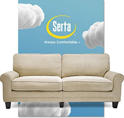 Amazon Com Serta Copenhagen Sofa Couch For Two People Pillowed Back Cushions And Rounded Arms