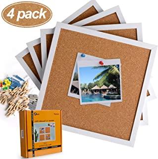 Cork Board Bulletin Board 12 X 12, White Framed Cork Tiles, Small Corkboards for Walls, Squares Thick Pin Board with 16 Push Pin Wood Clips, 4 Pack