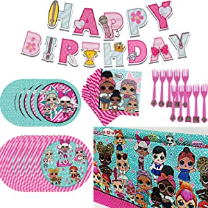 L.O.L. Birthday Party Supplies Set, For Girls LOL Theme Party Decoration includes Happy Birthday Banner, Tablecover, Plates, Forks, Napkins