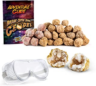"""Discover with Dr. Cool Break Your OWN 30 Small (1""""-1.5"""") Premium Moroccan Geodes - Great Birthday Party Favors and a Fun Family Activity, Includes Safety Goggles and Geode Learning Guide"""