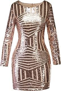 Sexy Women's Round Neck Long-Sleeved Halter Slim Bag Hip Nightclub Sequin Dress