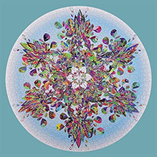 Bgraamiens Puzzle-Crystal Snowflake-1000 Pieces Snow Mandala Challenge Blue Board Round Jigsaw Puzzles
