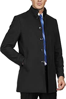 Mens Stand Faux Rabbit Fur Collar Single Breasted Wool Blend Pea Coat