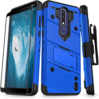 ZIZO Bolt Series Nokia 3.1 Plus Case Military Grade Drop Tested with Full Glass Screen Protector Holster and Kickstand Blue Black