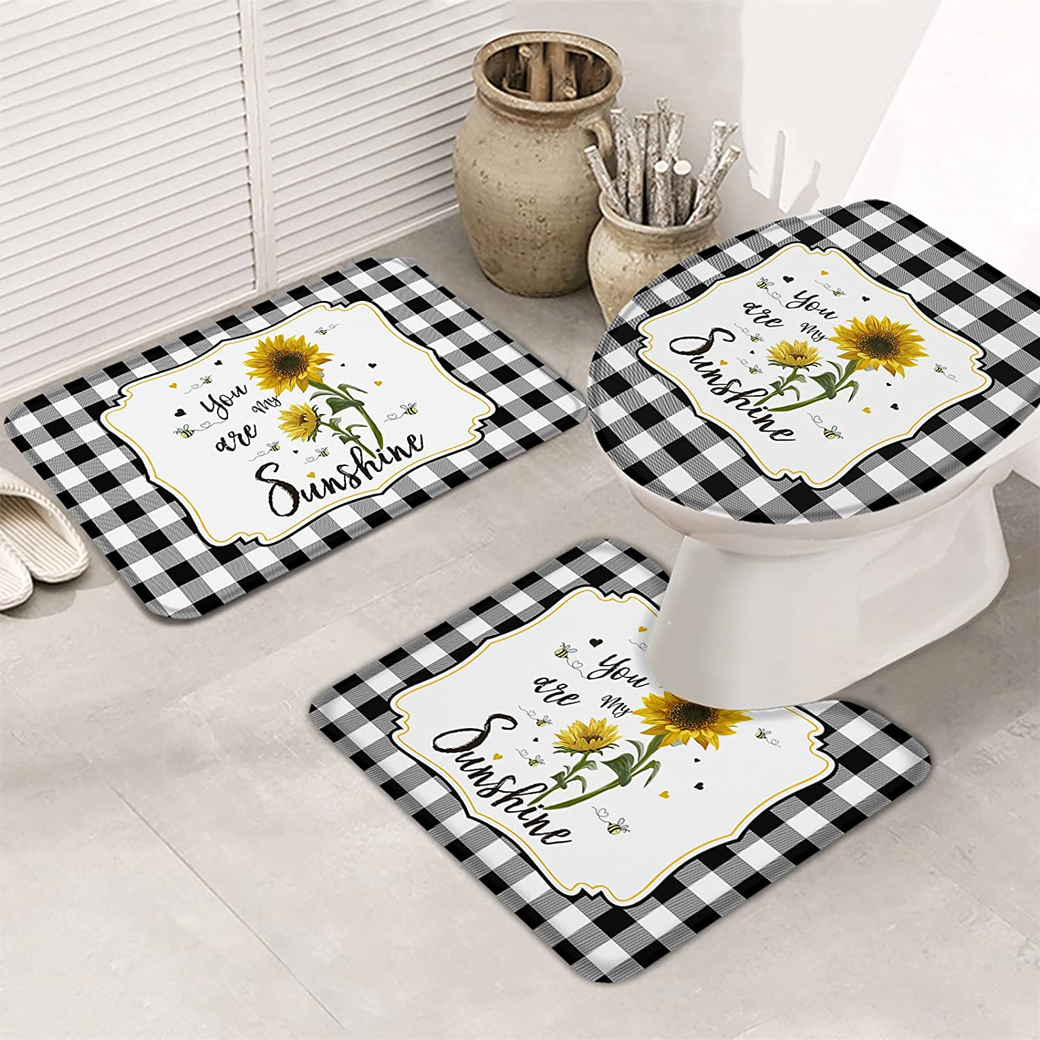 Fancyine 3 Max 90% OFF Pieces Bath Rugs Sets Blossom and Sunflowers Bee Farm Department store