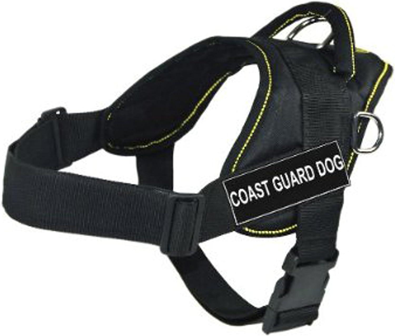 Dean & Tyler D&T FUNW COASTGUARD YTM DT Fun Works Harness, Coast Guard Dog, MediumFits Girth, 71cm to 86cm, Black with Yellow Trim