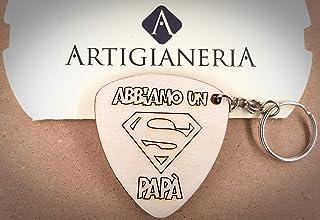 ArtigianeriA - Portachiavi in legno, dedicato a tutti i super papà. Realizzato a laser in Italia. Originale idea regalo pe...