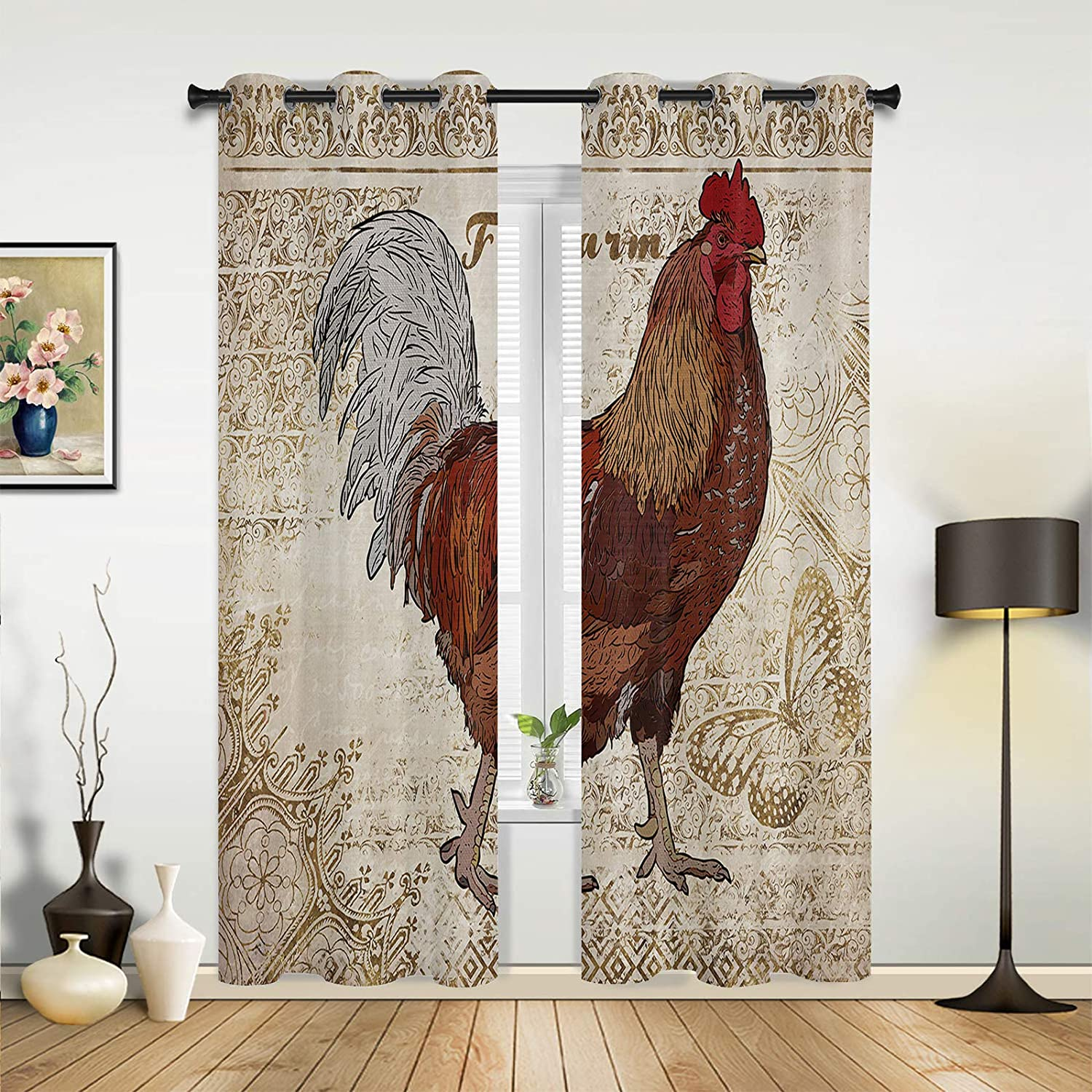 Window Sheer Curtains for New products world's Long-awaited highest quality popular Bedroom Living G Room Farm Hen Vintage