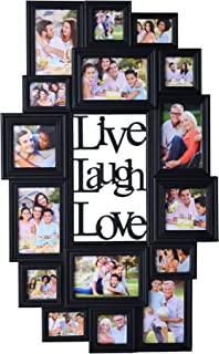 MELANNCO Live Love Laugh 16-Opening Wall Mounted Collage, 18x30 inch, Assorted