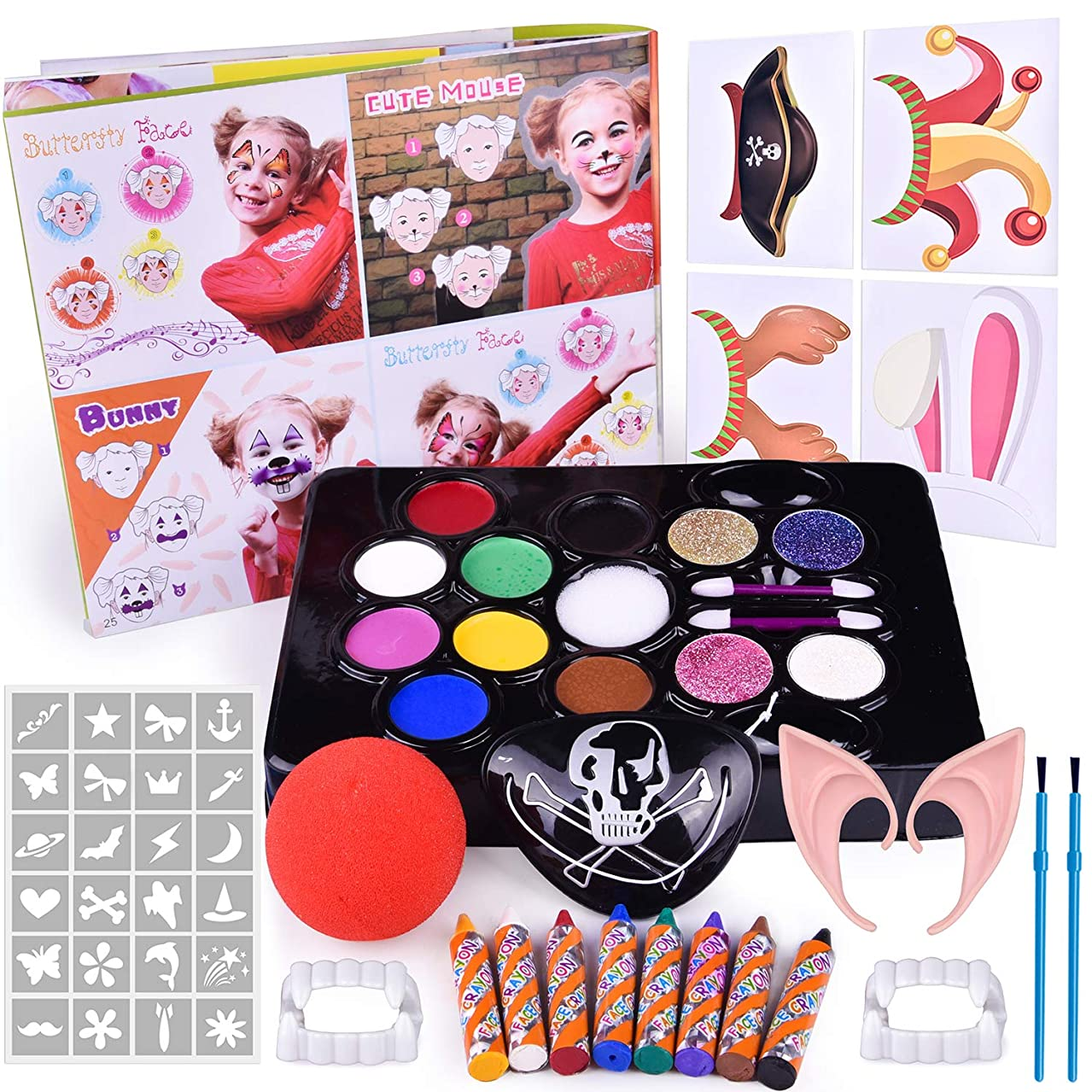 60 PCs Face Painting Kits for Kids, Kids Make Up Kit with Water Based Paints, Glitters, Stencils, Crayons, Make Up Tools, Pretend Play Accessories, Instruction Book, Safe & Non-Toxic