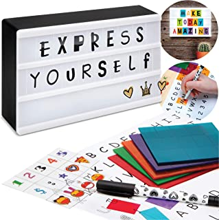 Discovery Kids DIY Light Up Cinema Box, Customizable Backlit Message Board with 90 Letters & Emojis and 5 Blank Sheets for Custom Fonts & Images