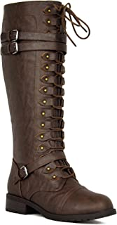 22a5eb33fd6 Women s Knee High Riding Boots Lace Up Buckles Winter Combat Boots